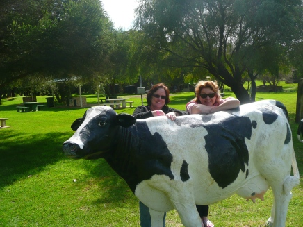 Jennie Jones & Juanita Kees with the cows during a visit to Cowaramup in 2014.